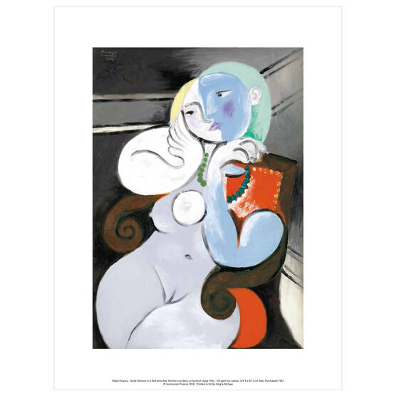 Pablo Picasso: Nude Woman in a Red Armchair exhibition print