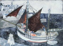 Wood: Boat in Harbour, Brittany