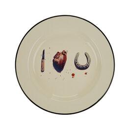 I Love U enamel plate