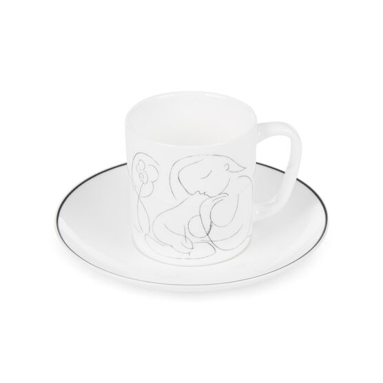 Picasso Woman with Flower Writing espresso cup and saucer