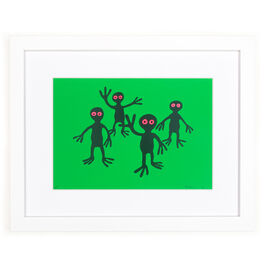 Monro Green Figures (framed print)