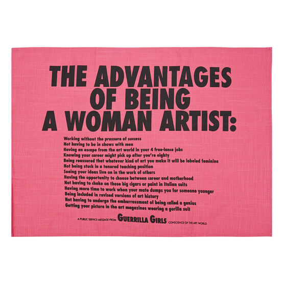 Guerrilla Girls The Advantages of Being a Woman Artist tea towel