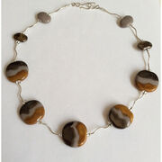 Late Turner brown ceramic and silver necklace
