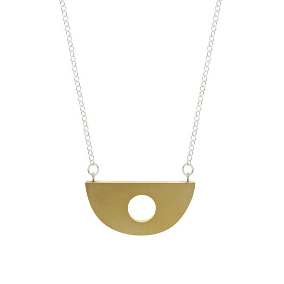 Recycled brass semi circle pendant neclace