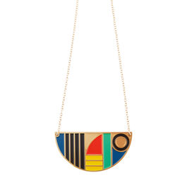 Tom Pigeon semi-circle enamel necklace