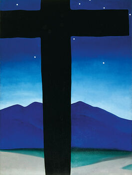 O'Keeffe: Black Cross with Stars and Blue
