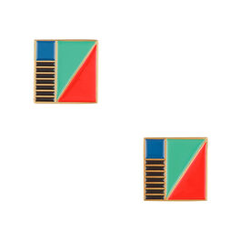 Tom Pigeon square enamel earrings