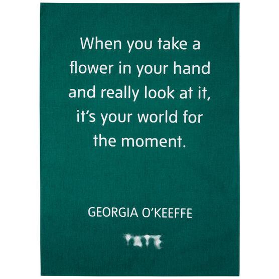 Green O'Keeffe Quote Tea Towel