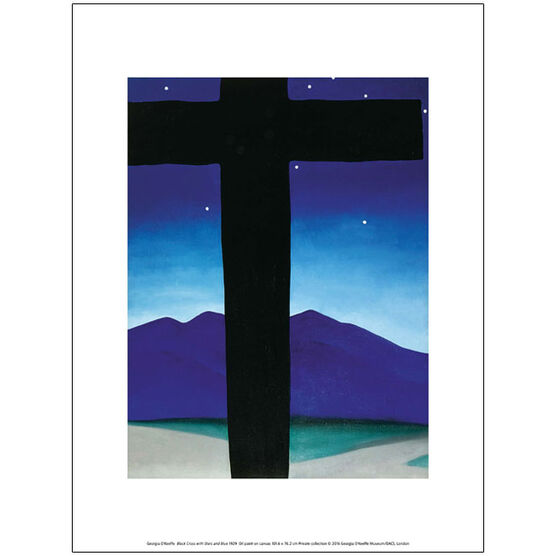 Georgia O'Keeffe Black Cross with Stars and Blue (exhibition print)
