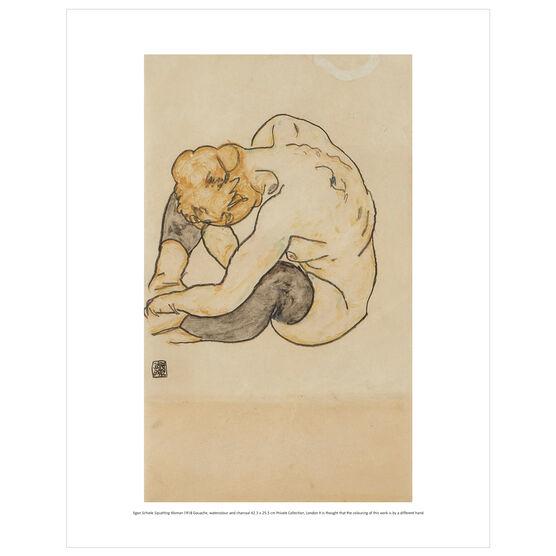 Egon Schiele: Squatting Woman mini print