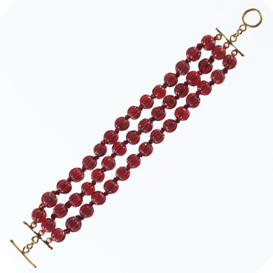 Glass bead bracelet - red
