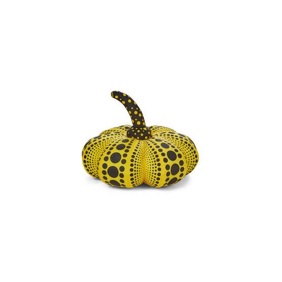Yayoi Kusama small soft sculpture pumpkin yellow and black