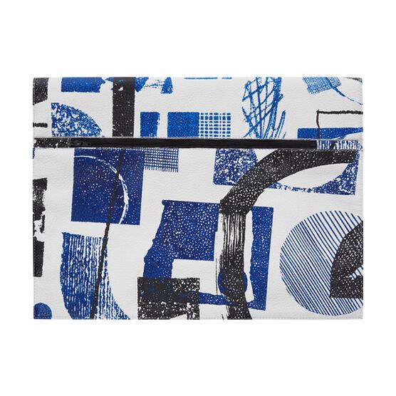 Laura Slater large cobalt blue leather clutch bag