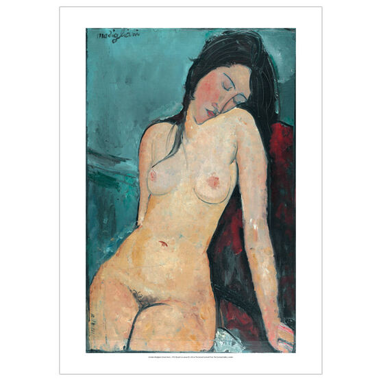 Modigliani Reclining nude on a white cushion (poster)