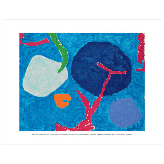 Patrick Heron: Four Blues with Pink : July 1983 mini print