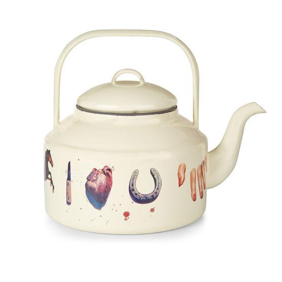 Cream enamel kettle