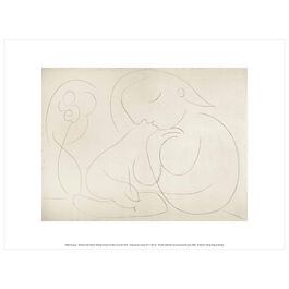 Pablo Picasso: Woman with Flower Writing exhibition print
