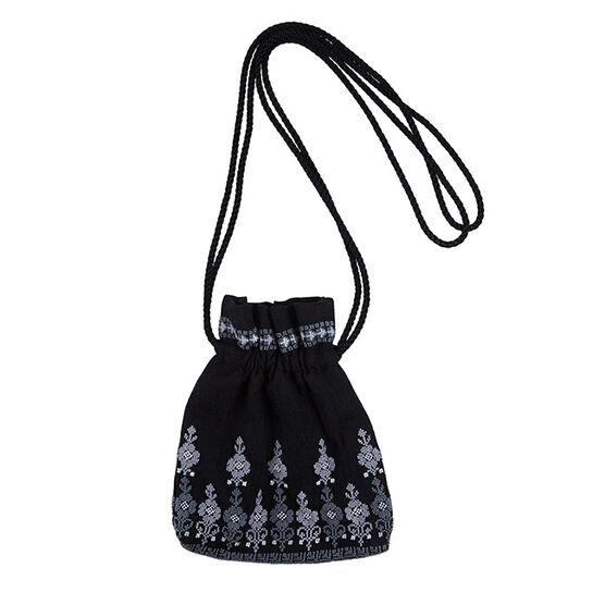Embroidered draw string bag - monochrome - Mona Hatoum