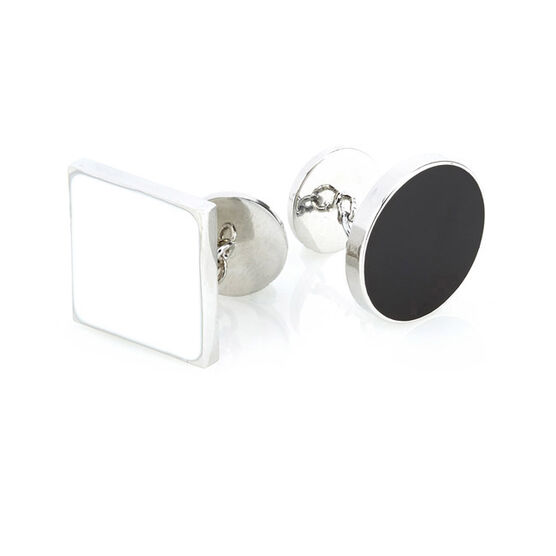 Circle and square boxed cufflinks