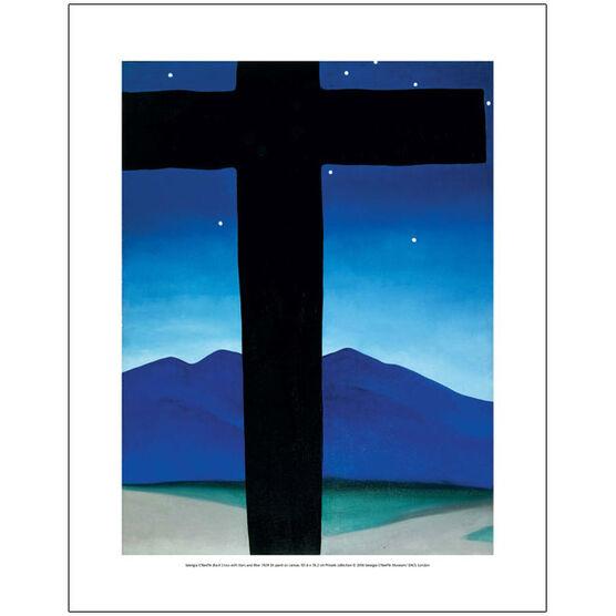 Georgia O'Keeffe Black Cross with Stars and Blue (mini print)