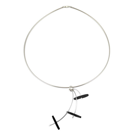 Black three drop necklace