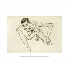 Egon Schiele: Self-portrait in Crouching Position mini print