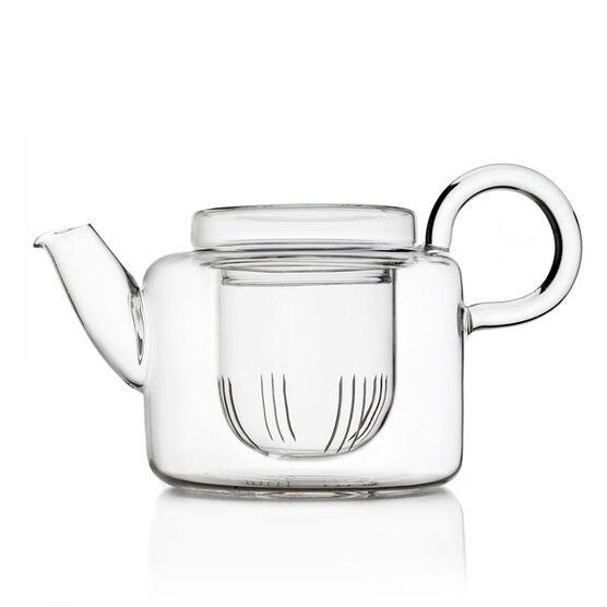 Piuma short glass teapot