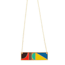 Tom Pigeon rectangle enamel necklace