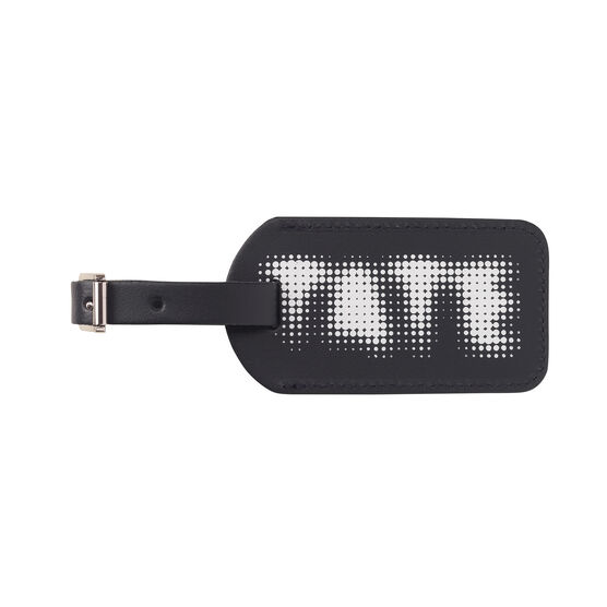 Tate navy leather luggage tag