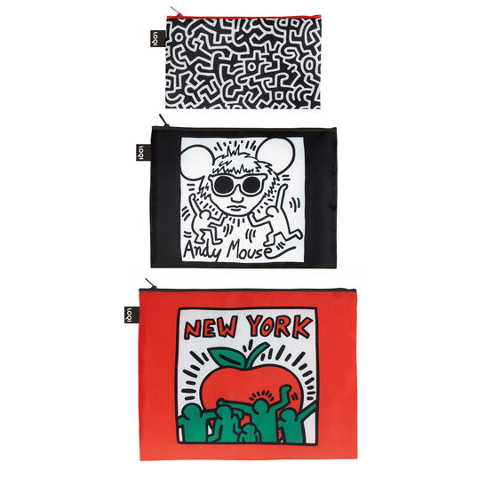 Keith Haring set of three zip pouches