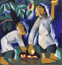 Goncharova: Peasants Picking Apples