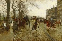 De Nittis: Piccadilly: Wintry Walk in London
