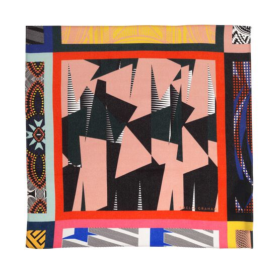 Maxi print silk neck scarf