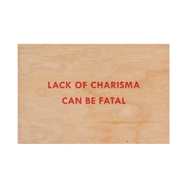Jenny Holzer Lack of Charisma wooden postcard. Available at Tate Shop.