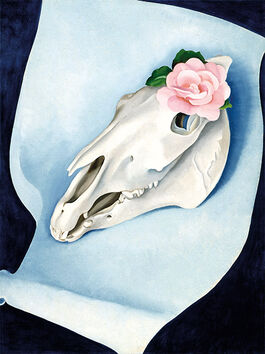 O'Keeffe: Horse's Skull with Pink Rose