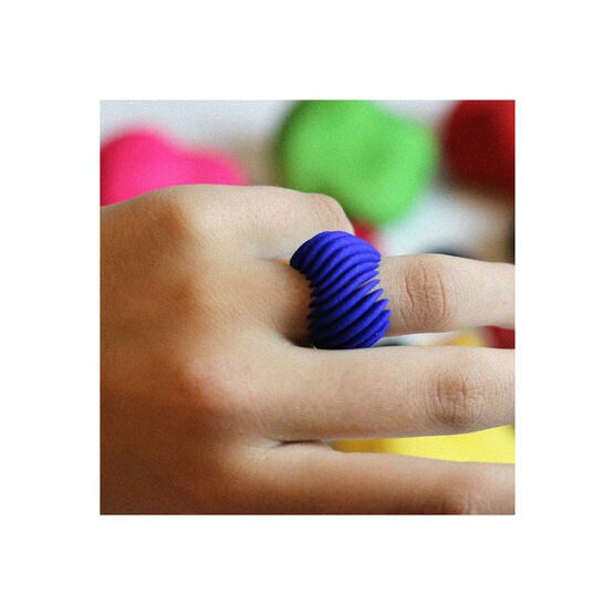 Blue 3d printed ring on a model