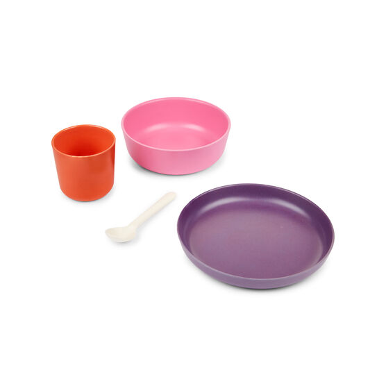 Kids bamboo dining set - pink, purple and red