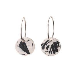 Black & white terrazzo circle hoop earrings