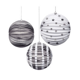 Silver paper globe decorations