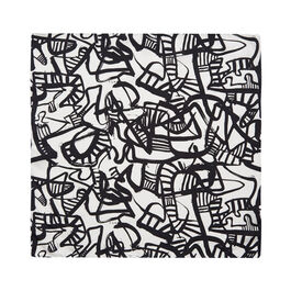 Patrick Heron Monochrome silk pocket square