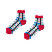 Red check transparent panel socks