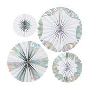 Giant iridescent paper pinwheel decorations