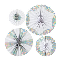Giant iridescent paper pinwheel decorations
