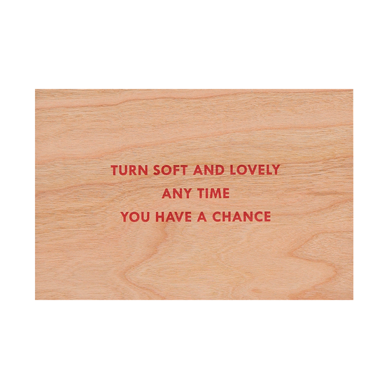 Jenny Holzer Soft and Lovely wooden postcard, available at Tate Shop.