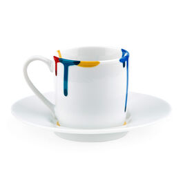 Artist paint drip espresso cup and saucer