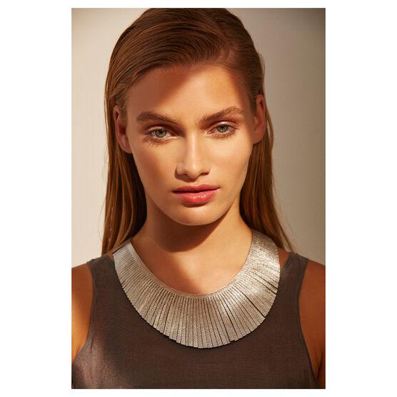 Brigitte silver leather necklace
