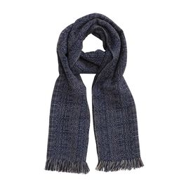 Midnight hand woven wool scarf