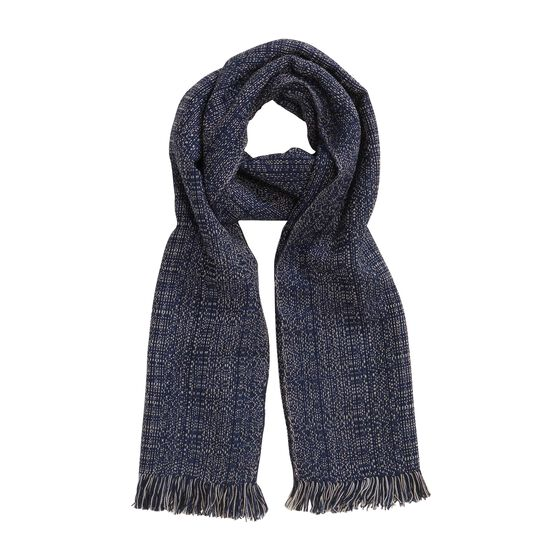 Midnight hand woven wool scarf
