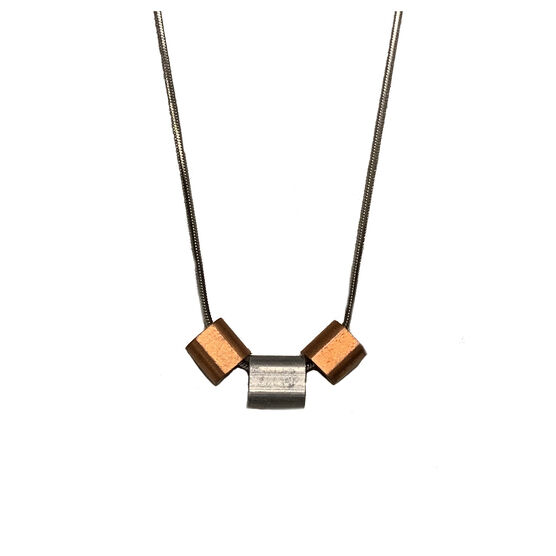 Steel and copper Ferrule necklace