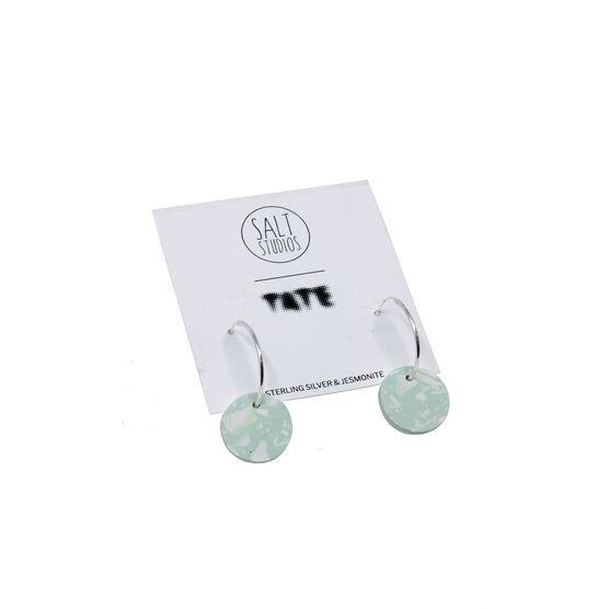 Mint and white terrazzo circle hoop earrings